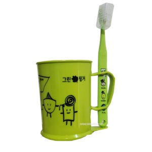 Green Finger Cup and Toothbrush Set for Kids
